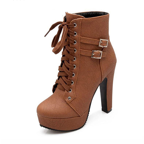 MCCKLE Plus Size Ankle Boots Women Platform High Heels Female Lace Up Women's Shoes Buckle Woman Short Boot Ladies Footwear 10