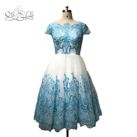 New Real Photo A Line Prom Dresses 2018 Blue Lace Applique White Tulle Women Formal Evening