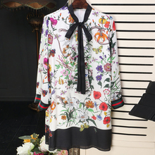EXCELLENT QUALITY Newest Fashion 2017 Designer Runway Dress Women's Long Sleeve Charming Floral Printed Bow Dress