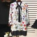 Excelente calidad de la más nueva manera 2017 runway designer dress mujer de manga larga con encanto impreso floral bow dress