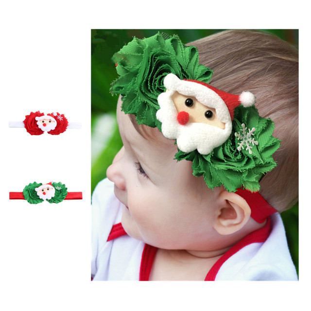 new christmas hair accessories shabby flower with santa