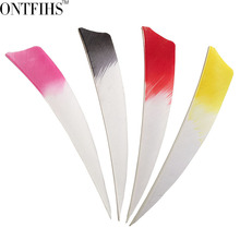 50pcs ONTFIHS 4 RW Archery Fletches Natural Turkey Feather White & Red Black pink yellow Shield Cut Fletching Feathers