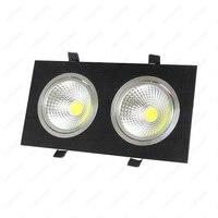 Dimbare/N 6 W/10 W/14 W/20 W/30 W LED COB Verzonken licht Dual Head Grille Lamp Hotel Woonkamer Zwart Shell