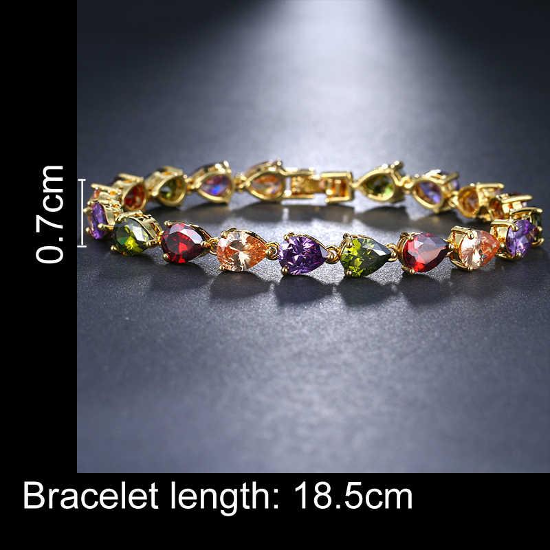 EMMAYA אופנה צבעים רב AAA CZ קריסטל צמיד שרשרת צבע זהב תכשיטים לנשים