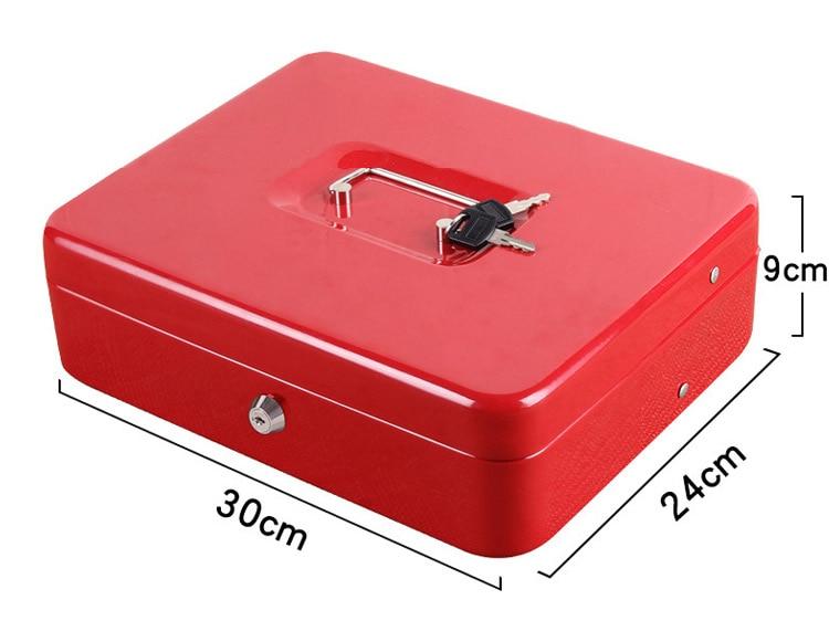 Portable Safes Cash Box Money Drawer Key Lock Password Lock Safe Lock Tiered Tray Security Storage Box Size 30 x 24 x 9cm (2)