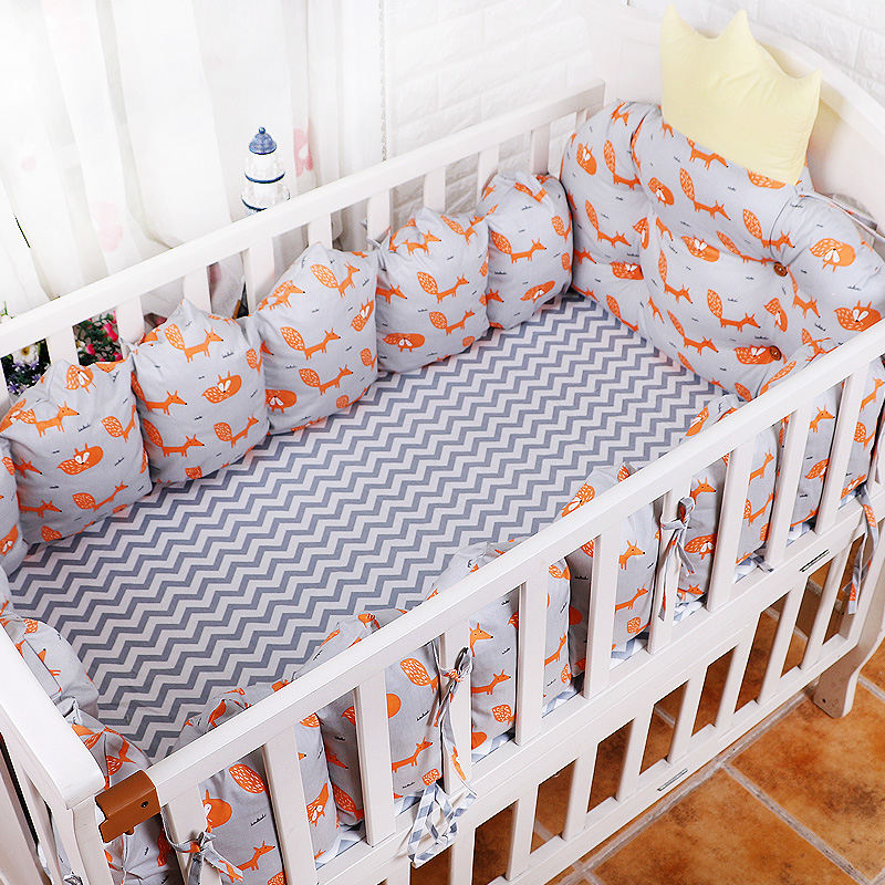 5PCS/SET Baby Cot Bedding Sets,Crown Type Newborn Cot Bed Linen,100% Cotton Crib Bedding Set include 4 Bumpers+1 mattress cover baby bedding set 5 pcs 100