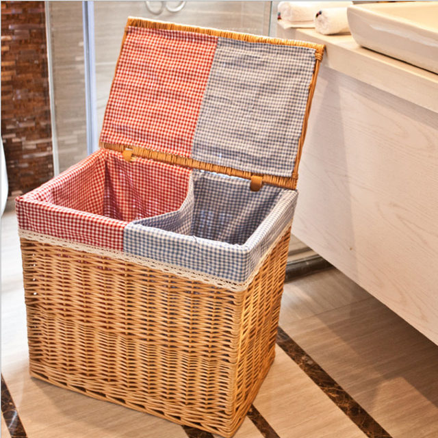 Large Wicker Rattan Laundry Baskets Natural Rattan Baskets With Lid Clothes  Storage Box And Bins Covered Home Decor Organizer
