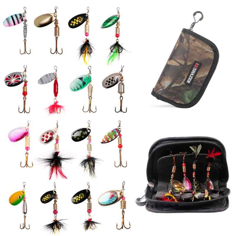 16Pcs/set Spinning Hooks Fishing Bait Metal Jig Sequins Equipment Bag Freshwater Fish Fake Bionic Baits