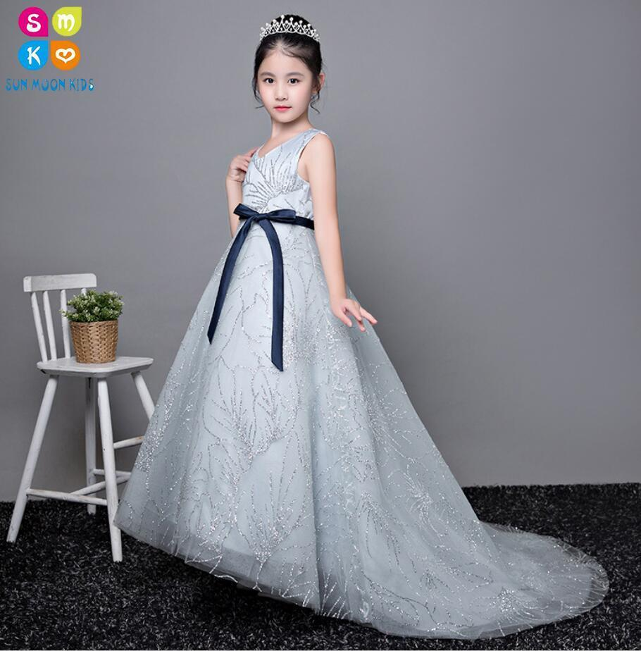 Glizt Trailing Girl Dress Flower Girl Wedding Dresses Girl Party Princess Birthday Dress Kids First Communion Gown For Baptism christmas girls sports suits fashion toddler girl clothing sets 2017 spring autumn lace coat outfit clothes size 4 6 12 14 year