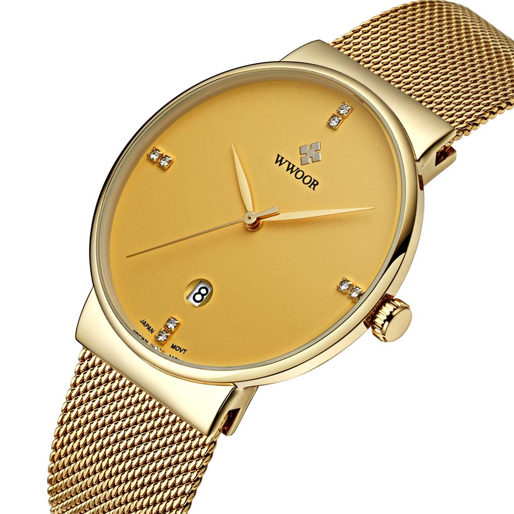 WWOOR New Top Luxury Watch Men Brand Men's Watches Ultra Thin Stainless Steel Mesh Band Quartz Wristwatch Fashion casual watches badace new top luxury watch men gold men s watches ultra thin stainless steel mesh band quartz wristwatch business casual watch