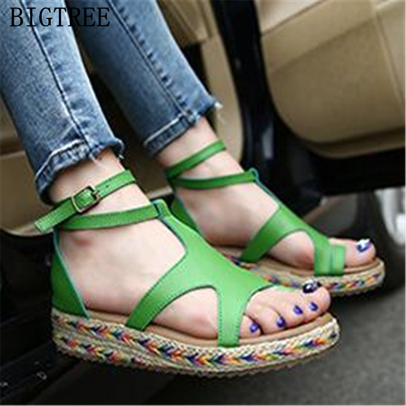 Fashion Women Sandals Straw Shoes Woman Summer Wedges Sandals Ankle Strap Casual Ladies Flat Sandals White green black brown sandals women summer shoes woman wedges platform sandals fashion flange rome sandals white black women shoes casual k8