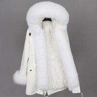 Одноцветное средней длины Для женщин зима натуральный мех парки Пальто 2018 натуральный мех белый хлопчатобумажная куртка зимняя женская ме