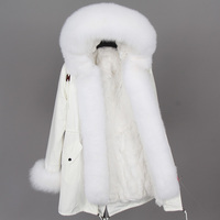 Solid Middle Long Women's Winter Real Fur Parkas Coats 2018 Natural fur white cotton jacket winter female fur jacket park