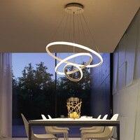 화이트/커피 LED 펜 던 트 조명 거실 홀 서클 아크릴 반지 알루미늄 바디 LED 홈 램프 AC85-260V dero