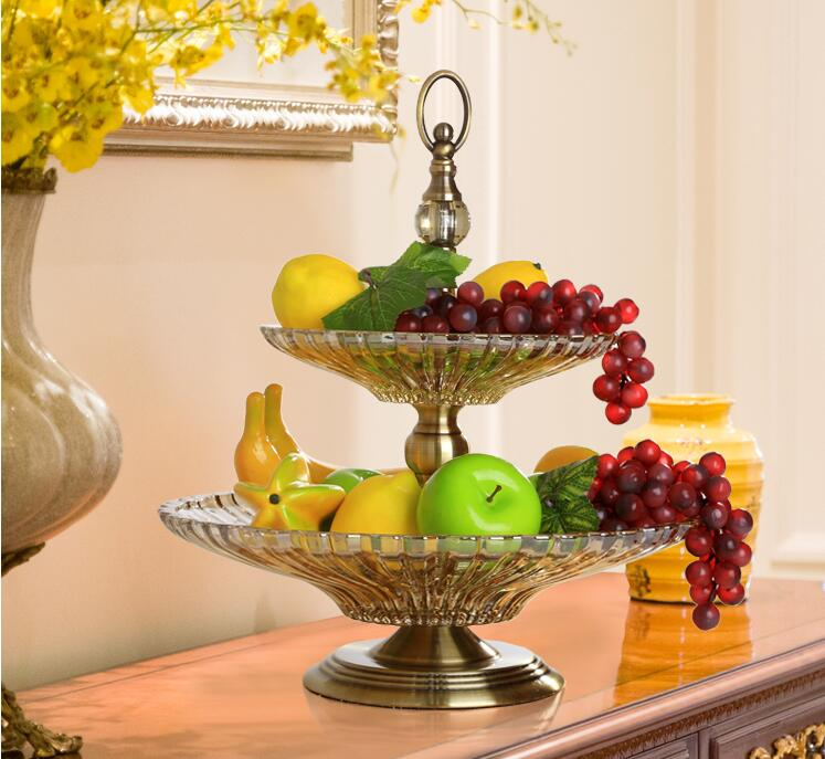 New classical decorative crystal glass feel fruit plate. Household ornaments double layer fruit plate.034