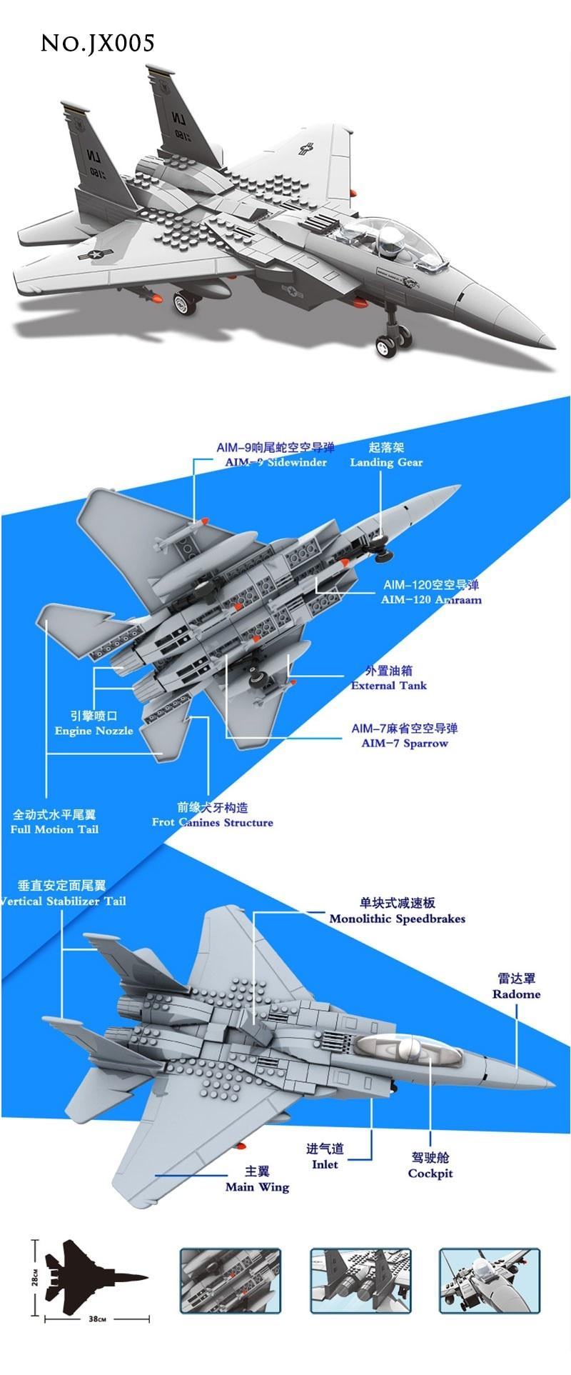 Wange Building Blocks Military F15 Fighter J-15 V-22 Osprey Tiltrotor Aircraft Helicopter Model Building Kits Toys For Children 5