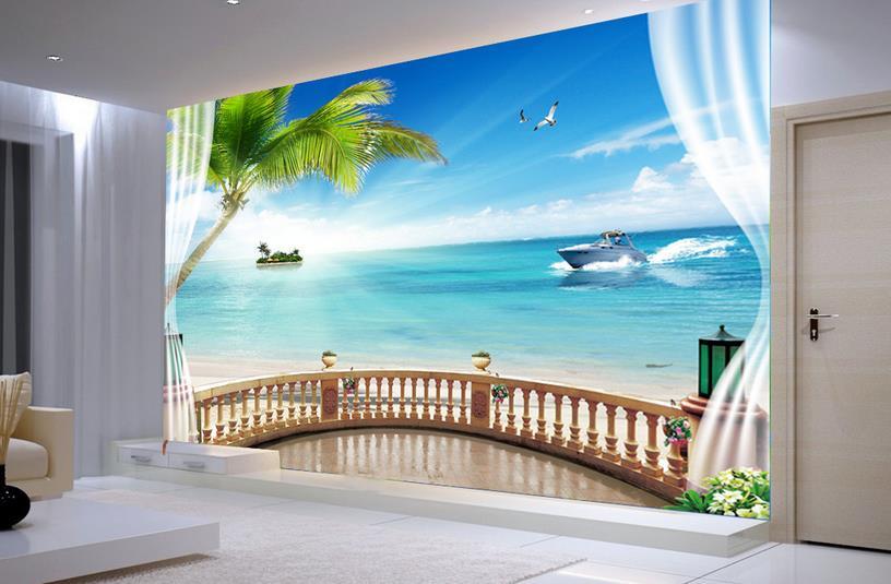Modern 3D Wallpaper Photo window landscape Wallpaper 3D ...