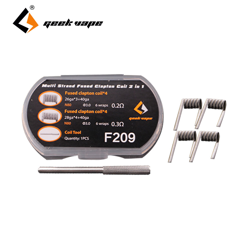 8pcs/pack GeekVape <font><b>N80</b></font> Strand Fused Clapton <font><b>Wire</b></font> 2 In 1 0.2ohm/0.3ohm Premium Coil Made From Nichrome <font><b>N80</b></font> for DIY Fun Ecig Parts image