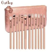 Beauty Girl Amazing 12 pcs Rose Gold Makeup Brush Complete Eye Set Tools Powder Blending Brush F17X18