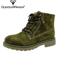 2017 Autumn New Cow Suede Chelsea Boots Pigskin Women Ankle Boots Retro Vintage Martin Boots Fashion