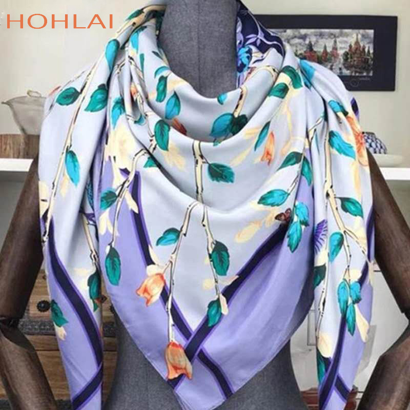 2019New Spring Autumn Female Satin Scarf Bandana Large Square Scarves Printed Women Scarves Wraps 100% Silk Scarf Shawls 130*130