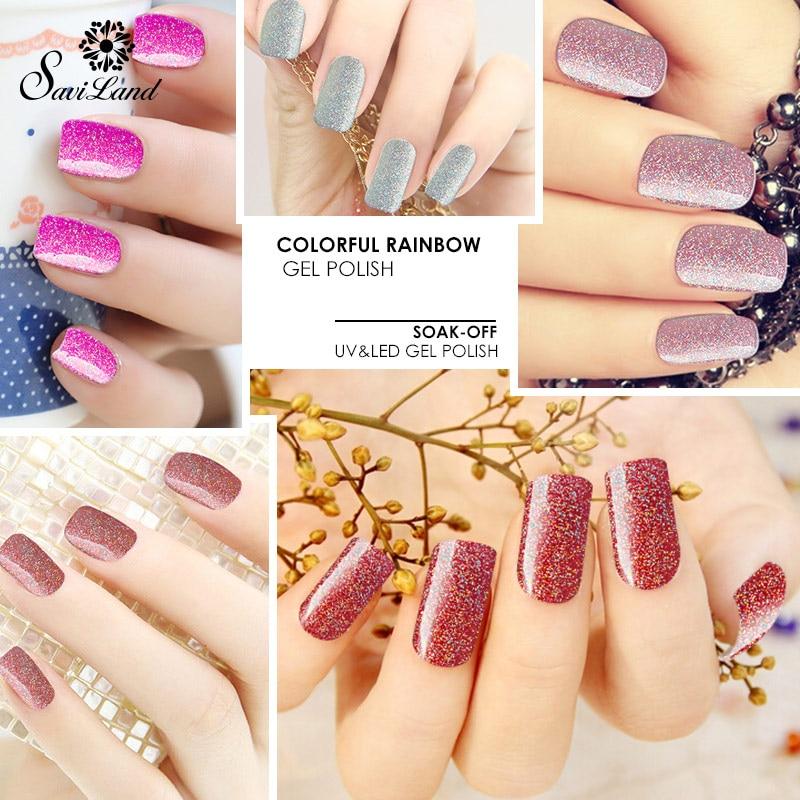 Saviland Glitter Neon Colors UV Gel Nail Polish Long Lasting Gel ...