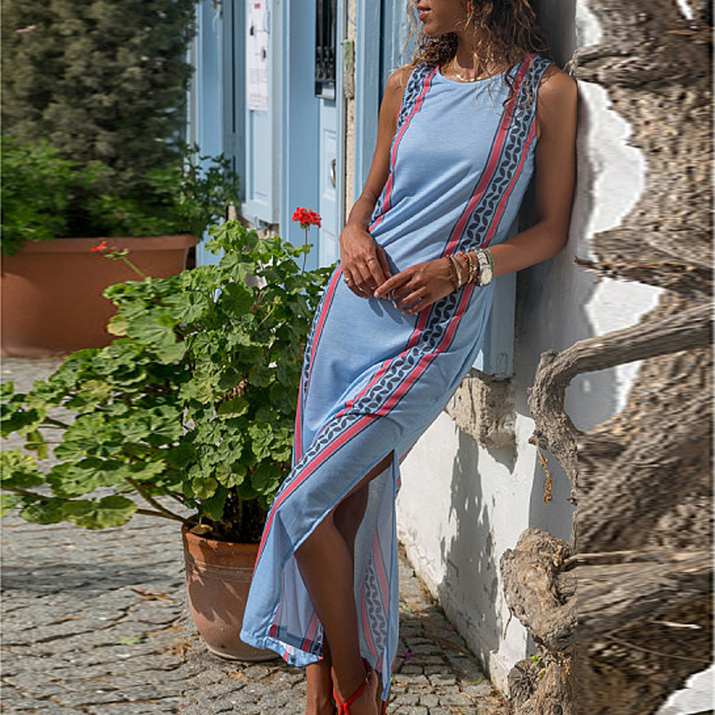 Summer Dress 2020 Plus Size Long Summer Dresses Casual Women's Round Neck Side Slit Print Sleeveless Maxi Dresses Z4