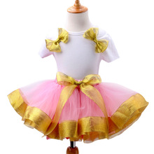 2016 Brand Toddler Girl Clothing Dresses Fashion Gold Ruffles Pink Party Princess Dress With Big Bow Kids Clothes Girls Summer