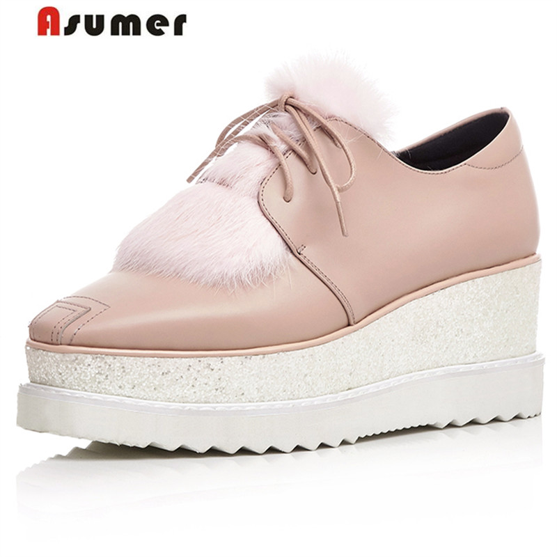 ФОТО Asumer Genuine leather shoes woman top quality lace-up brogue shoes square heels solid autumn fashion pumps platform shoes