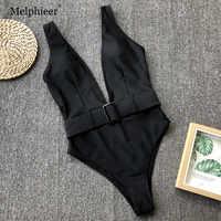 2019 traje de baño para mujer con cuello en V profundo traje de baño cinturón Sexy Monokini una pieza traje de baño bañador negro bañador desgaste