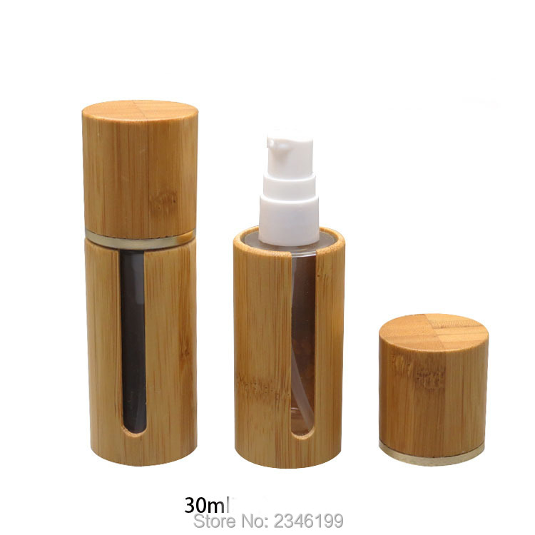 30ML 10pcs/lot Empty High Grade Bamboo Foundation Bottles, Glass High-end DIY Lotion Pump Bottle,  Elegant Cosmetic Container 10ml 15ml 30ml 50ml 100ml empty glass perfume spray bottle diy elegant black glass lotion pump bottle empty emulsion container