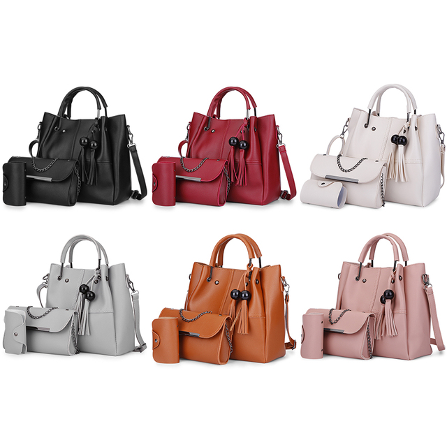 493c3adf8fbf 3pcs Sets Composite Bag Women Tassel Handbags Leather Shoulder Bags Female  Large Capacity Casual Tote