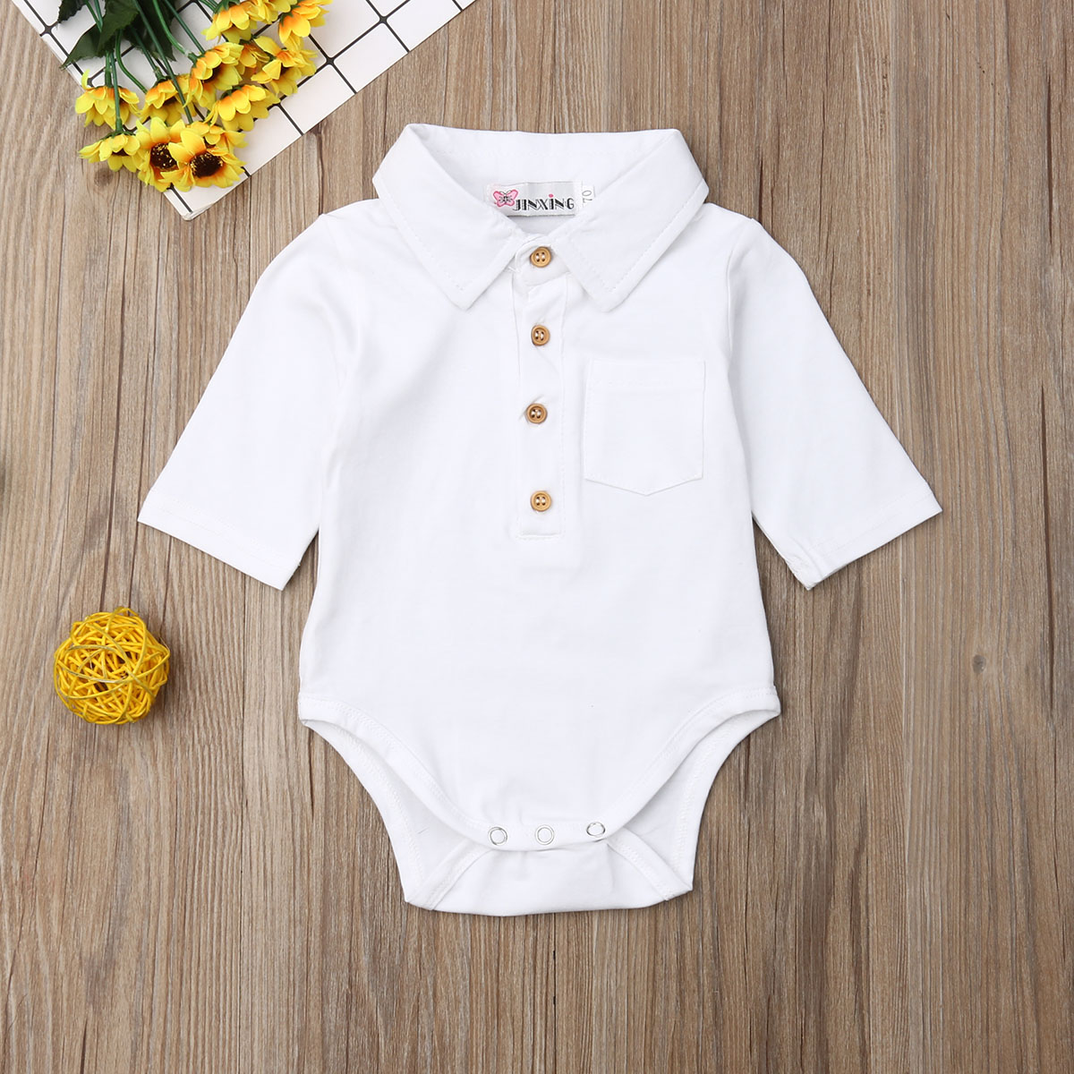 Pudcoco Newborn Baby Boy Clothes Solid Color Long Sleeve Cotton   Romper   Jumpsuit One-Piece Outfit Sunsuit Summer Clothes