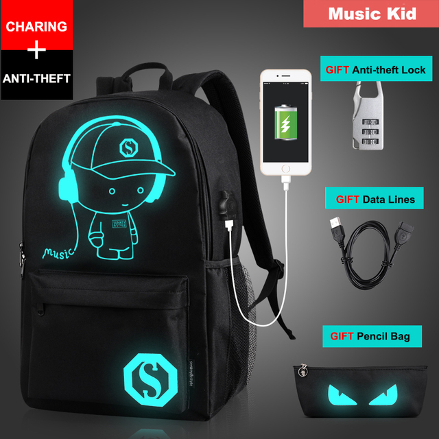 Senkey Style Student School Backpack Anime Luminous  USB Charge Laptop Computer Backpack For Teenager