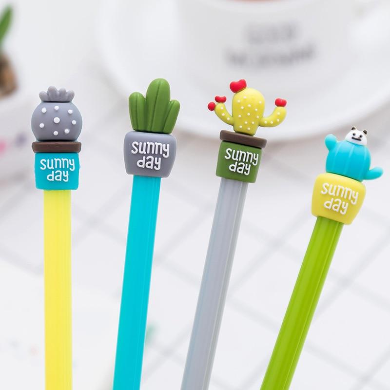 1Pcs New Creative Cactus bonsai potted Plant Novelty Pen Gel Pen Office School Gift Stationery Pen E0293
