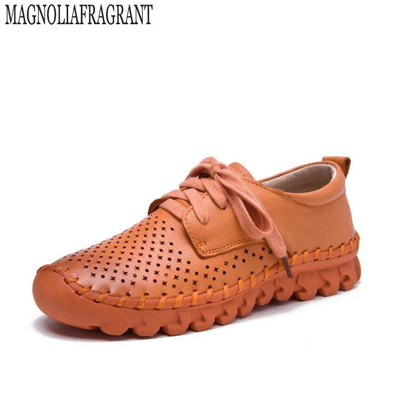 newest 6d031 61dfe 6 Verano 1 Respirable Mano Cuero Sapato 3 5 Recortes A Ocasionales Floral  K1 4 Hechos 7 Mujeres Zapatos ...