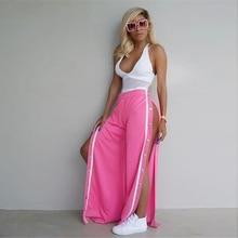 Sweatpants Women wide leg pants palazzo long snap capris – bohemian Bottom Sexy button trousers