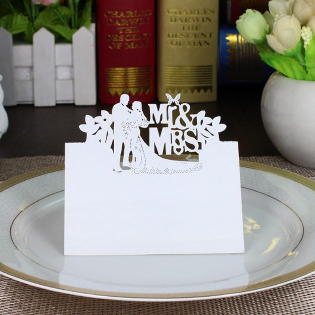100Pcs White Bride And Groom Name Place Cards Wedding Chic Pearlescent Table  Name Message Setting Card