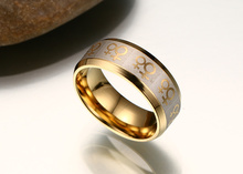 Etching Stainless Steel Gold Color Lesbian Pride Rings