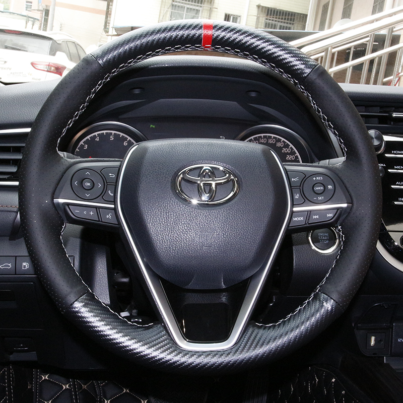 lsrtw2017 car-styling carbon fiber real leather car steering wheel cover for toyota camry 2018 2019 xv70