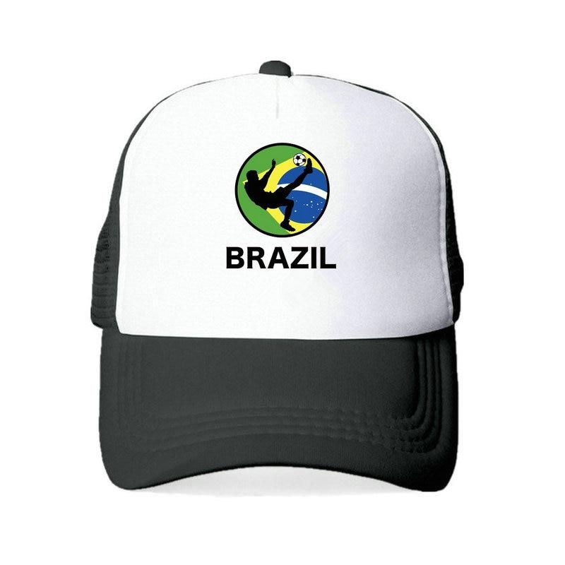 Vintage Brazilian American Flag Mesh Caps Adjustable Unisex Snapback Trucker Cap