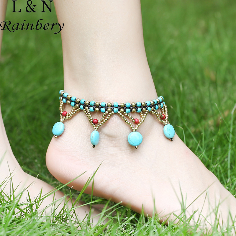 Rainbery Bohemian Anklets Bracelets For Women Beach Holiday Green Beads Chains Foot Jewelry Wholesale Anklets JA0060