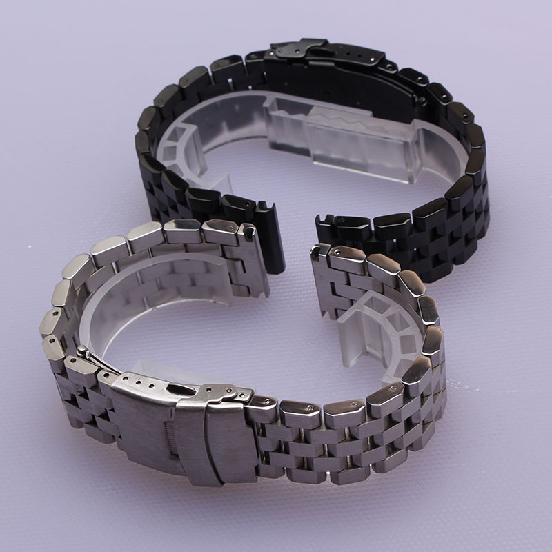 Brushed Stainless steel Watchband solid links metal strap safety buckle silver black 18mm 20mm 22mm 24mm