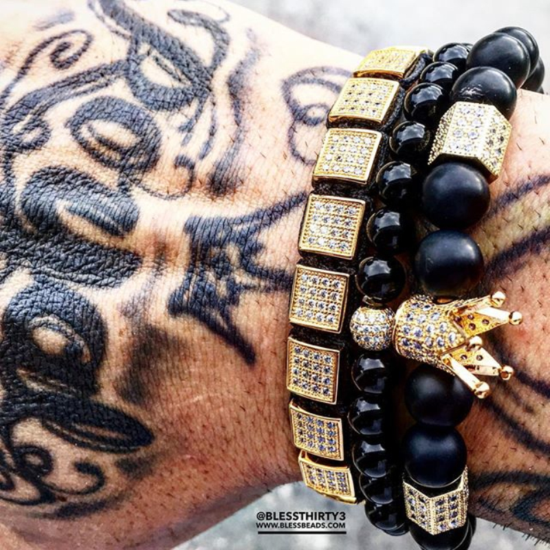 Mcllroy Brand Trendy Imperial Crown Charm Bracelets Men Natural Stone Beads For Women Men Jewelry Pulseras Mujer CZ Paved