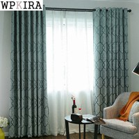 Double Side Jacquard Blue Plaid Luxurious Curtains for Living Room Bedroom White tulle 110&40
