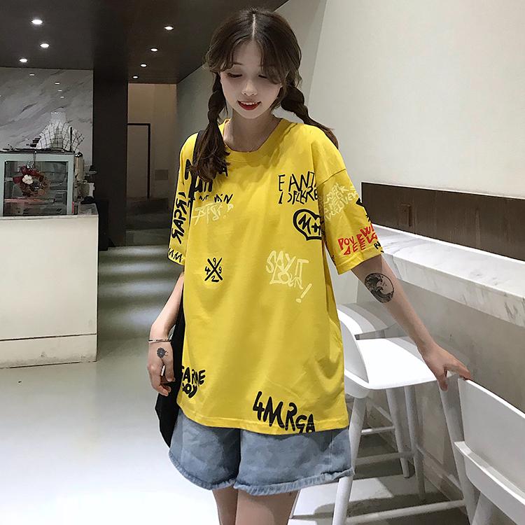 T-shirts Women Graffiti BF European Style Loose Harajuku Hip Hop Streetwear Chic Couple Clothes Unisex Daily Tshirt Womens Soft 86