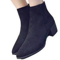 Brand New Suede Ankle Boots Fashion Metallic Leather Women Boots Classic Chelsea Boots Side Zip Low