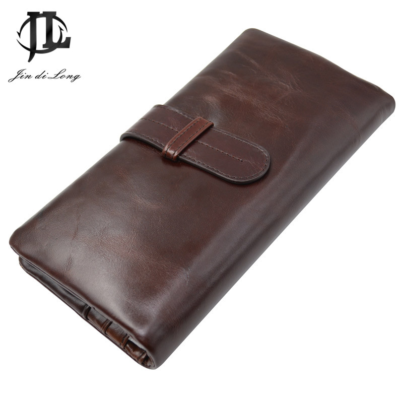 New Vintage Oil Waxed Genuine leather Men Organizer Wallet Money Purse Card holder Phone Photo Coin Package Zipper Clutch Bag