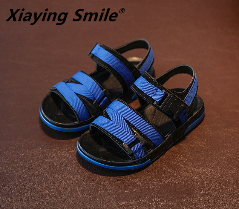 Xiaying Smile Boys Sandals Children Shoes Flats Gladiator Summer Beach Shoes Soft Leather Loop Casual Sewing Student Hollow Shoe