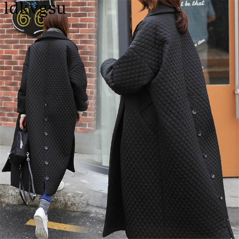 2018 Winter Black Long Coat Women Outwear Jackets High Quality Single Breasted Fashion Basic Loose Oversize Women   Parka   Jacket